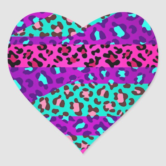 Aninimal Book: Fancy Wild Leopard Print Neon Pink Purple Blue Heart ...