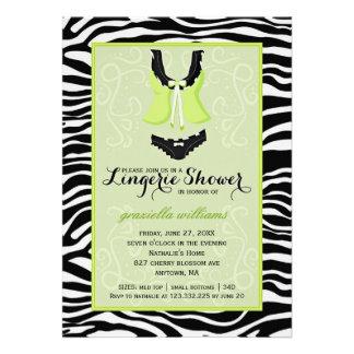 Fancy Wild Lime Zebra Lingerie Shower Bachelorette Personalized Invitations