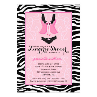Fancy Wild Pink Zebra Lingerie Shower Bachelorette Personalized Invites