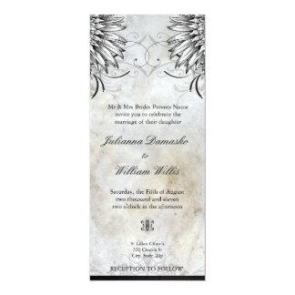 Fancy Winged Urban Tattoo Wedding Invitation