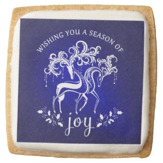 Fancy Winter Holiday Reindeer Joy Square Shortbread Cookie