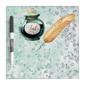 Fancy Writing Gold Feather Pen Green Bokeh Bling Dry Erase Board