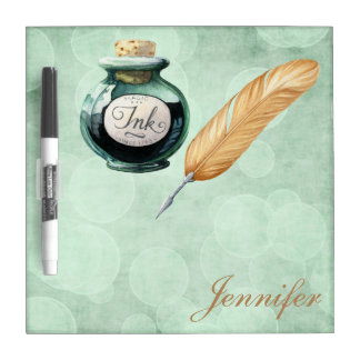 Fancy Writing Gold Feather Pen Green Bokeh Dry-Erase Board