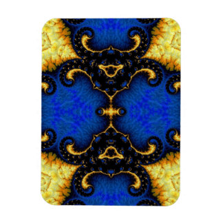 Fancy Yellow Blue Fractal Magnet