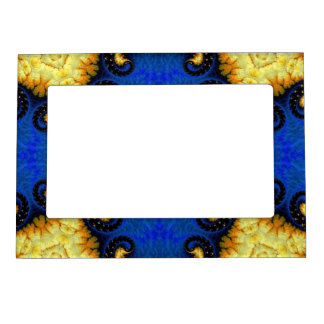 Fancy Yellow Blue Fractal Magnetic Frame