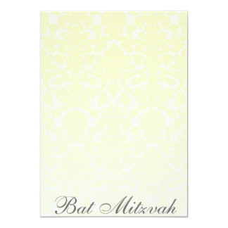 Fancy Yellow Damask Bat Mitzvah Invitation