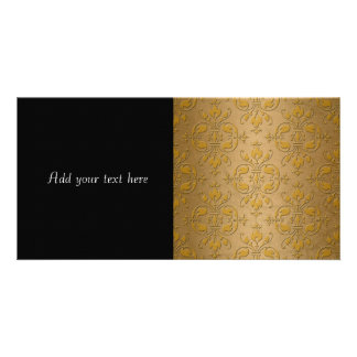 Fancy Yellow Gold Damask Photo Card Template