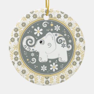 Fancy Yellow Grey White Elephant Floral Ornament