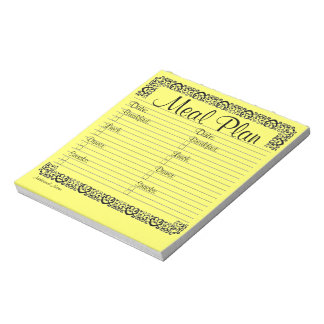 Fancy Yellow Meal Plan Notepad