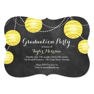 Fancy Yellow Party Lanterns Graduation Invitation