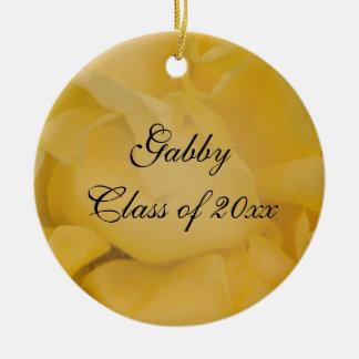 Fancy Yellow Rose Graduation Photo Ceramic Ornament