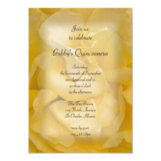 "Fancy Yellow Rose Quinceanera Party Invitation 5"" X 7"" Invitation Card"