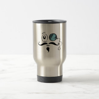Fancy Yellow Smiley Face Monocle and Mustache Travel Mug