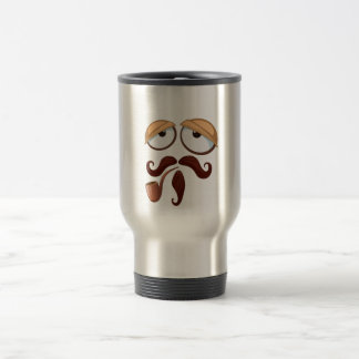Fancy Yellow Smiley Face Mustache and Pipe Travel Mug