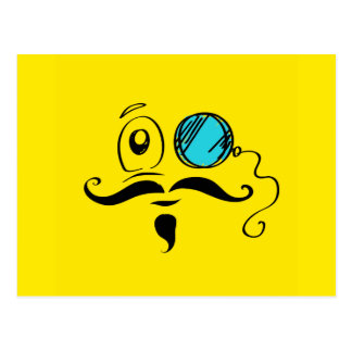 Fancy Yellow Smiley Face with Monocle and Mustache Postcard