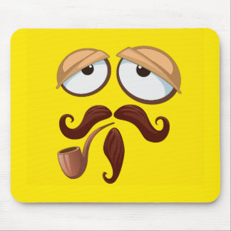 Fancy Yellow Smiley Face with Pipe and Mustache Mouse Pad