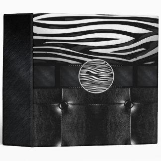 Fancy Zebra Leather Monogram Vinyl Binder
