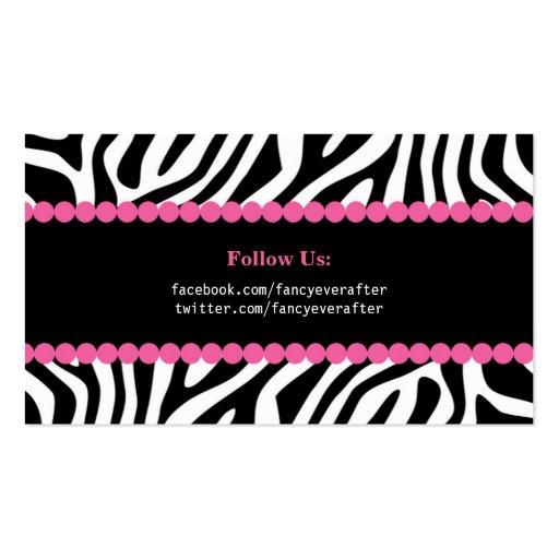 Fancy Zebra Print Business Card Template (back side)