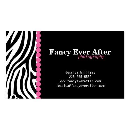 Fancy Zebra Print Business Card Template (front side)