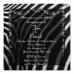 Fancy Zebra Print Engagement Party Invitation