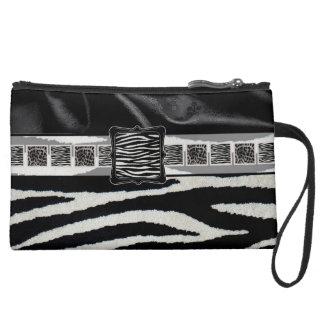 Fancy Zebra Silk Monogram Wristlet Purses