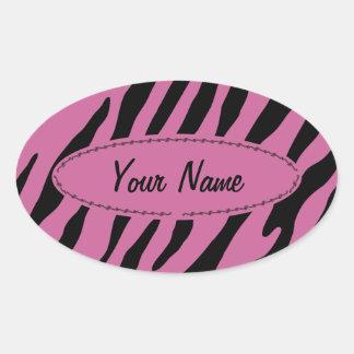 Fancy zebra stripes oval sticker
