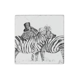 Fancy zebras wedding couple stone magnet