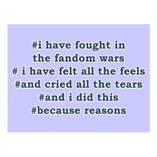 Fandom Wars Post Cards