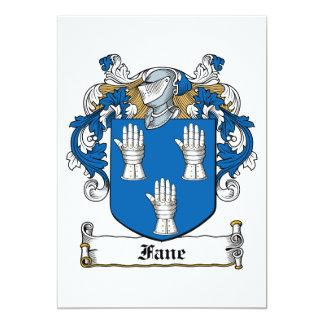 """Fane Family Crest 5"""" X 7"""" Invitation Card"""