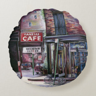 Fanelli's Charm, New York City, Soho, New York Round Pillow