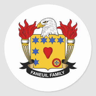 Faneuil Family Crest Round Stickers