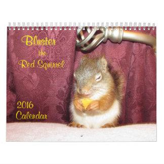 Fanfarronee el calendario de la ardilla roja 2016