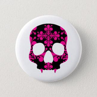 Fanged girly skull pinback button