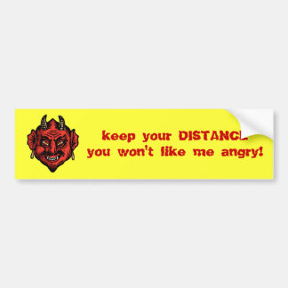 Fanged Red Devil With Horns Car Bumper Sticker