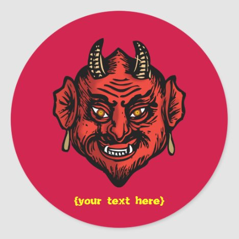 Fanged Red Devil With Horns Classic Round Sticker