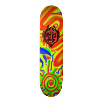 Fanged Red Devil With Horns skateboard