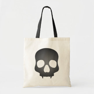 Fanged skull in gray tote bag