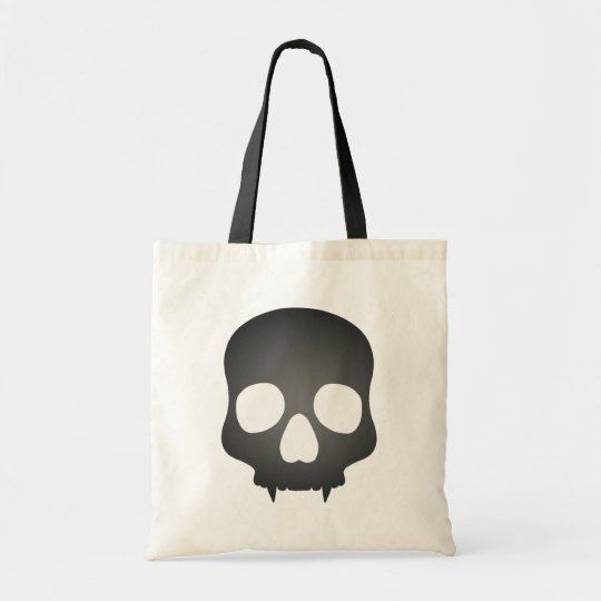 Fanged skull in gray tote bag