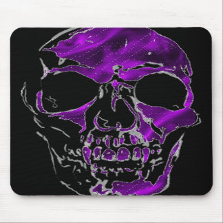 Fanged Skull in Purple Silk Mousepad