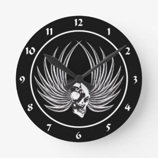Fanged Skull with Wings Round Clock