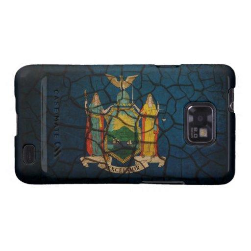 Fango agrietado de la bandera de Nueva York Samsung Galaxy S2 Carcasas