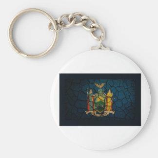 Fango agrietado de la bandera de Nueva York Llaveros Personalizados