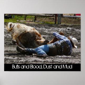 Fango del vaquero y de Bull del rodeo que lucha Impresiones