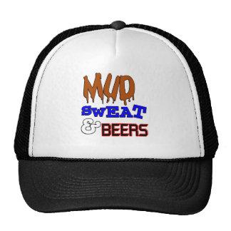 Fango, sudor y diseño divertido de las cervezas gorras de camionero