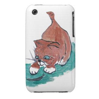 Fangoso - el gatito encuentra un caracol negro Case-Mate iPhone 3 fundas
