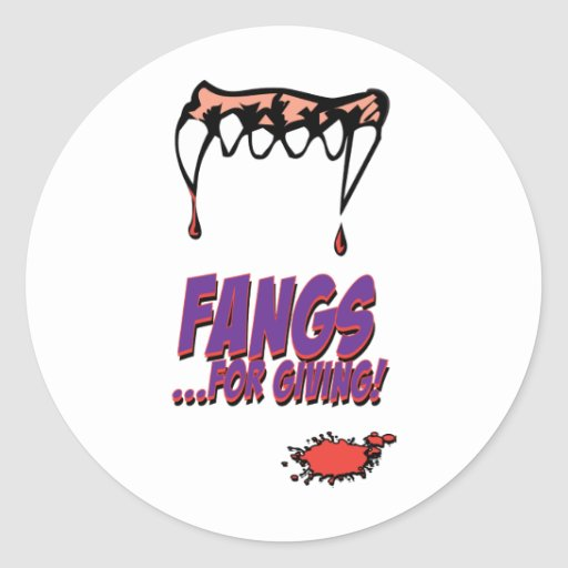 Fangs for giving classic round sticker