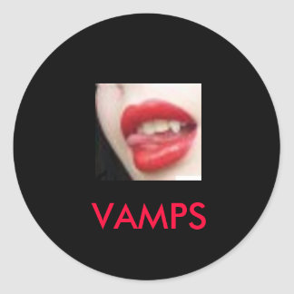 fangs, VAMPS Classic Round Sticker