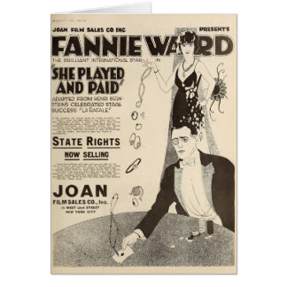 Fannie Ward 1920 silent movie exhibitor ad Card