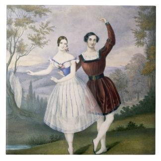 Fanny Cerrito (1817-1909) y Sigr. Guerra, en Azulejo Cuadrado Grande