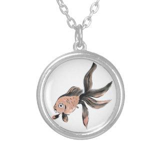 Fanny Fantail Goldfish, Sumi-e Round Pendant Necklace